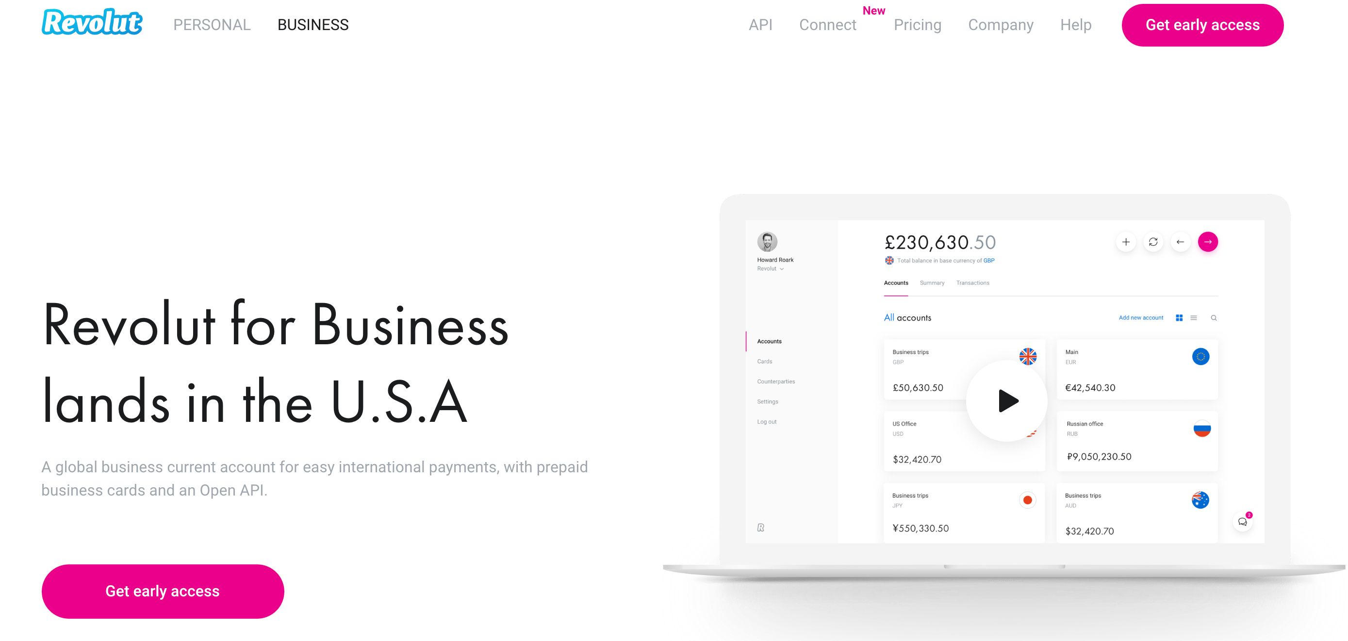 Revolut for business home page