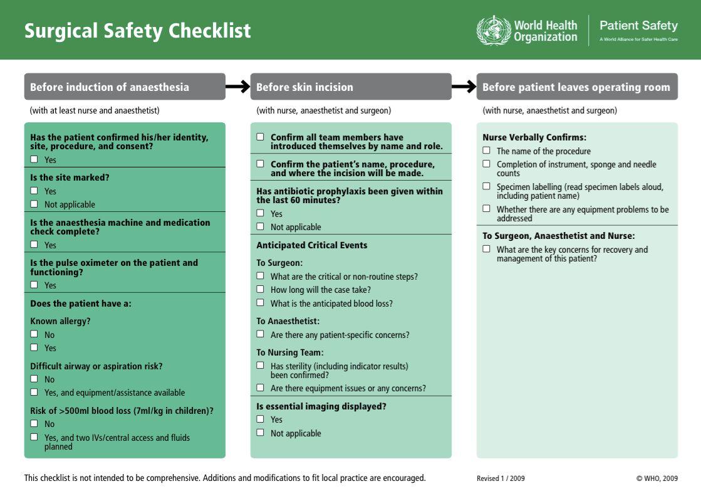 Surgical Safety Checklist.