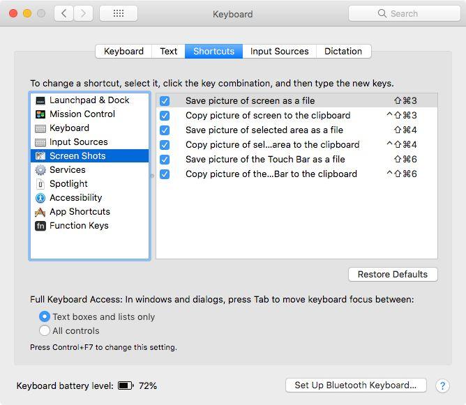 customize Mac keyboard shortcuts for screenshots