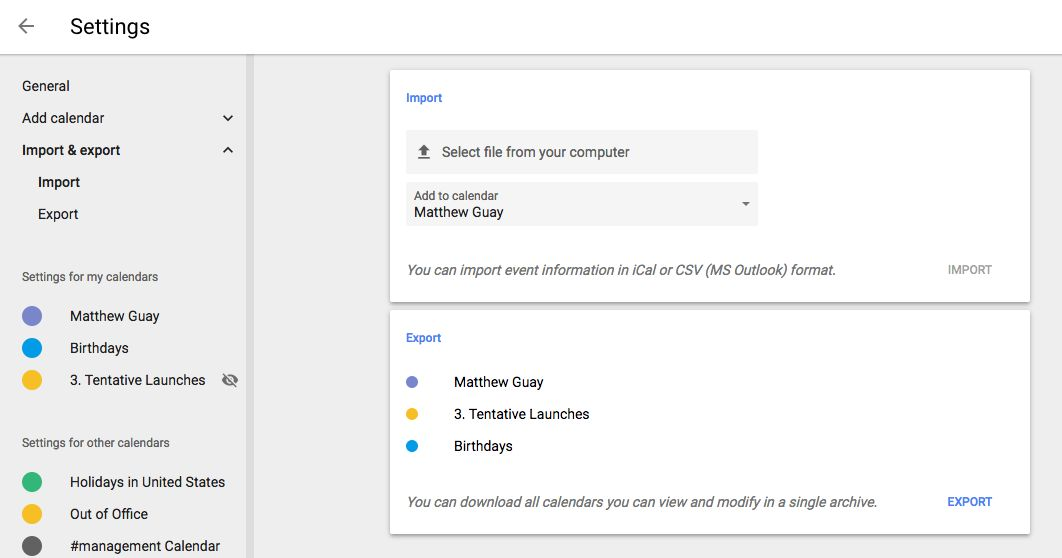 Import/export settings Google Calendar