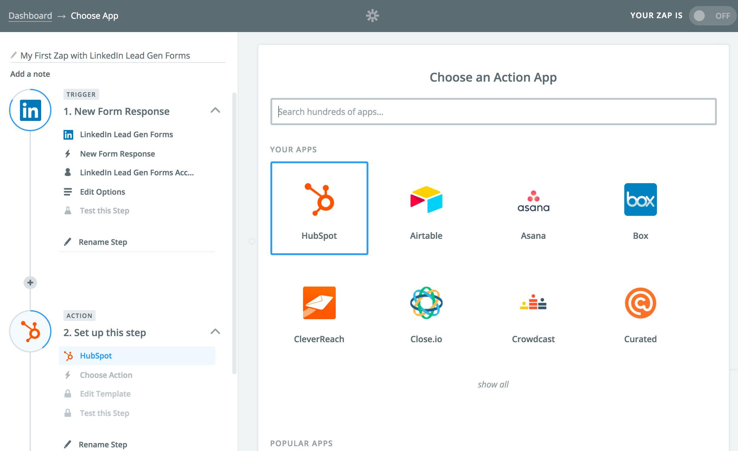 LinkedIn Lead Gen Forms Zapier Action Step