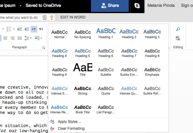 Word Online Styles