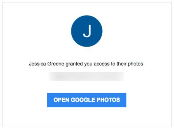 Google Photos invitation email