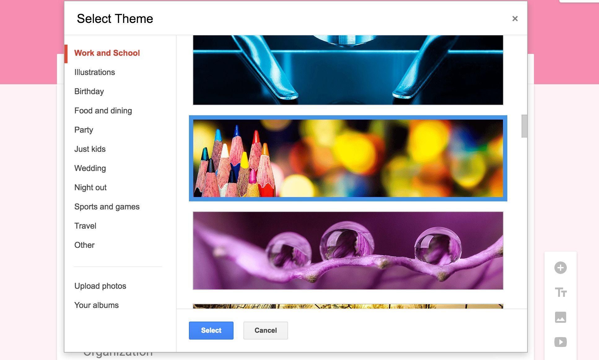 Google Forms photo header