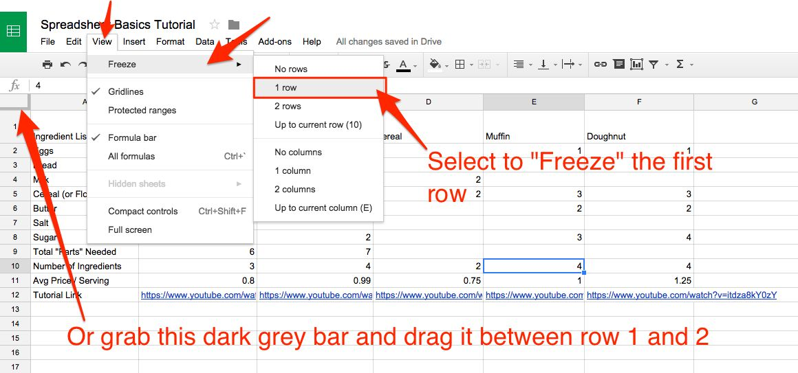 lock rows in Google Sheets
