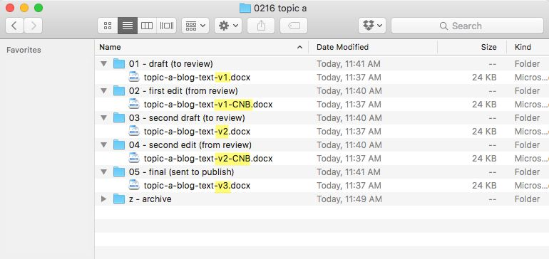 Versioned files in folders