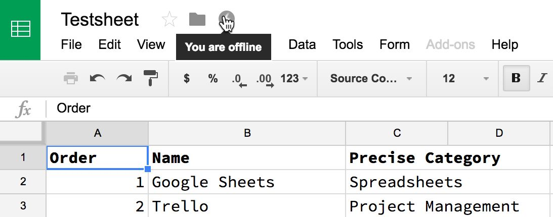 Enable Google Sheets Offline Mode