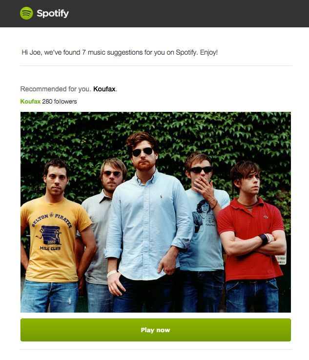 spotify recommendation email
