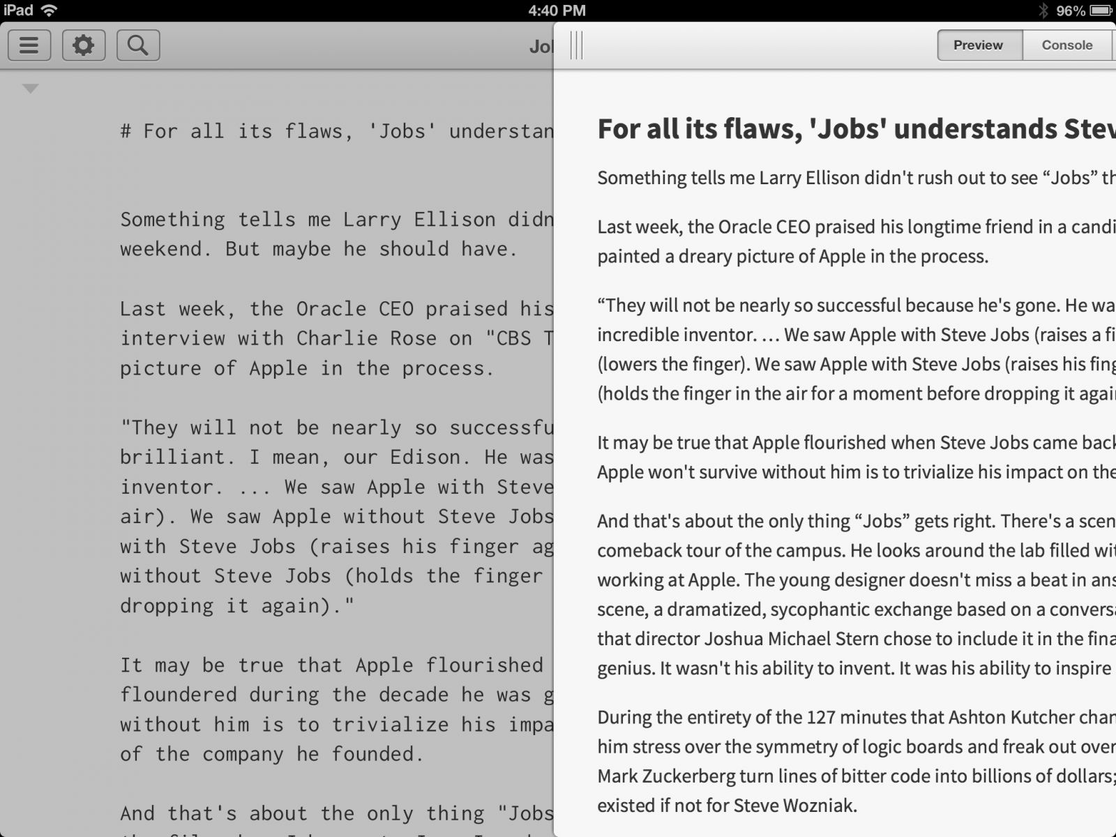 Editorial on iPad