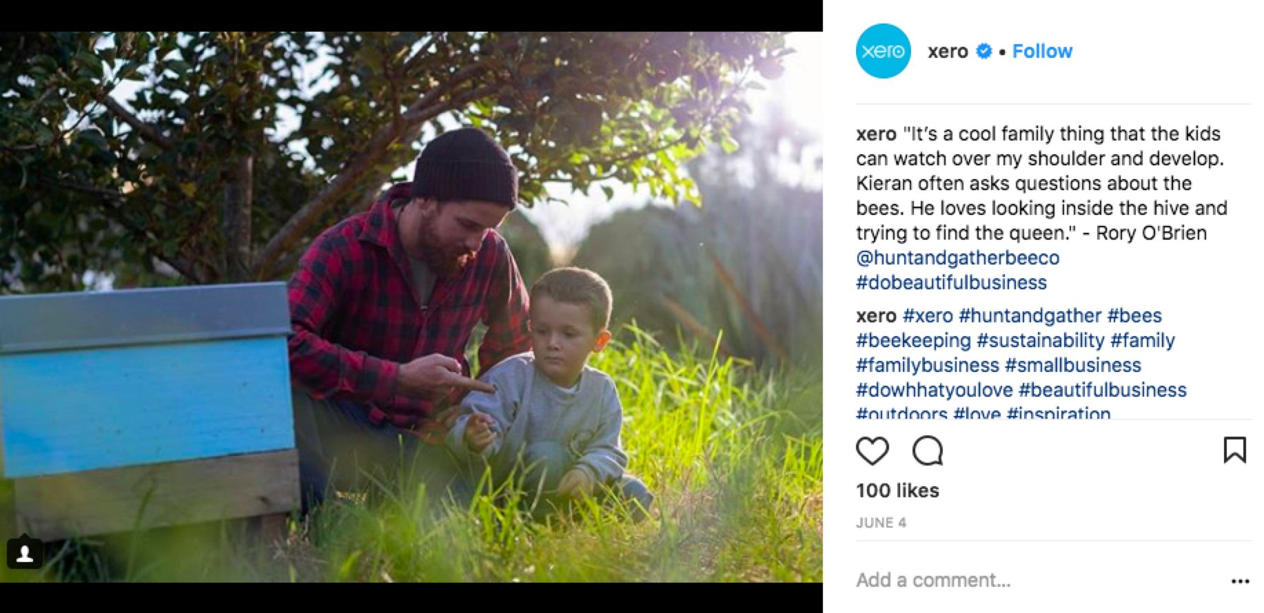 Xero Instagram post showing customer story