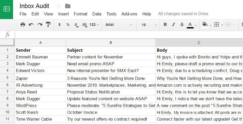 email spreadsheet