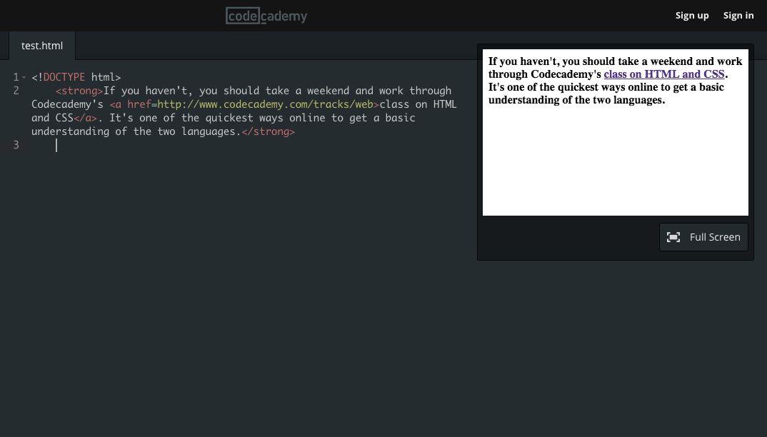 Codecademy HTML class