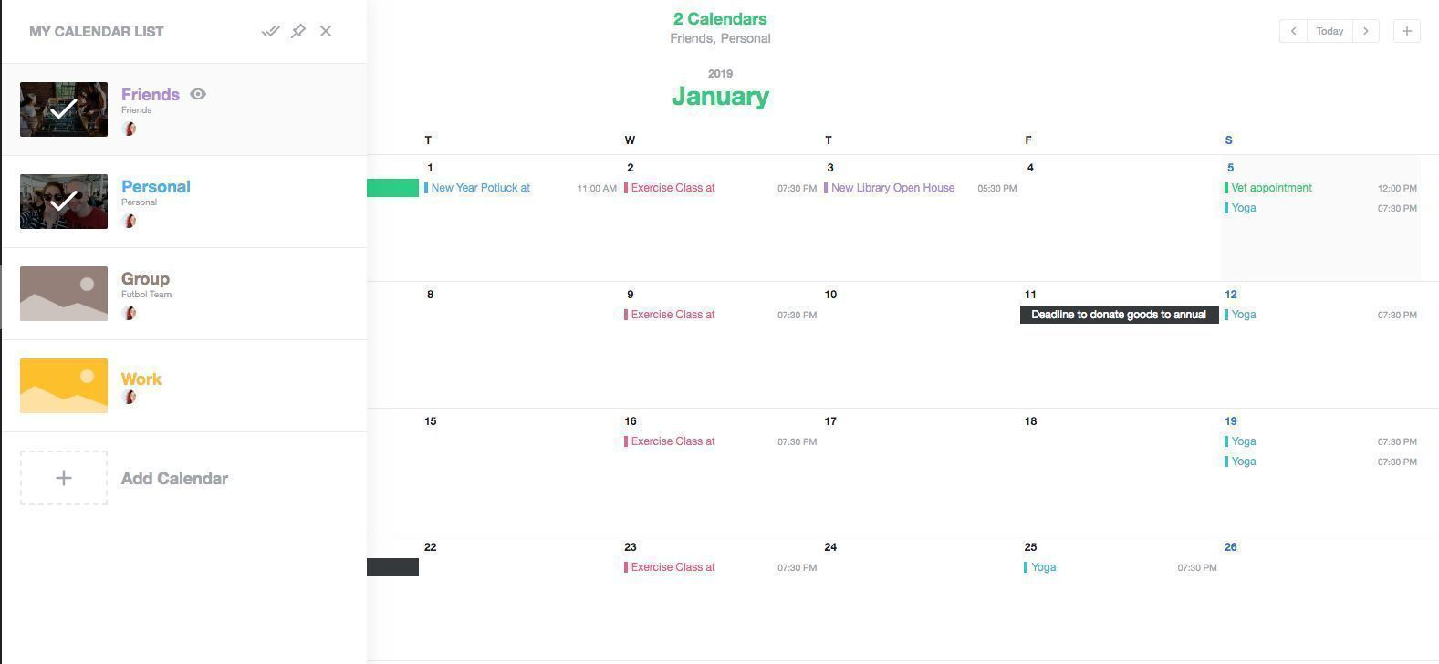 Calendar sharing app for android and iphone