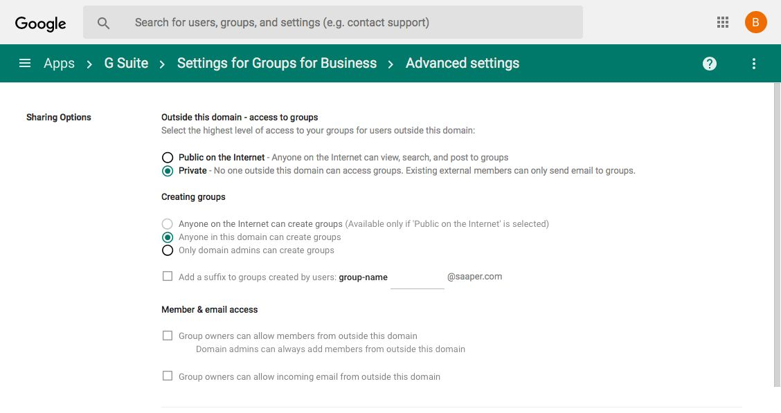 G Suite Google Groups settings