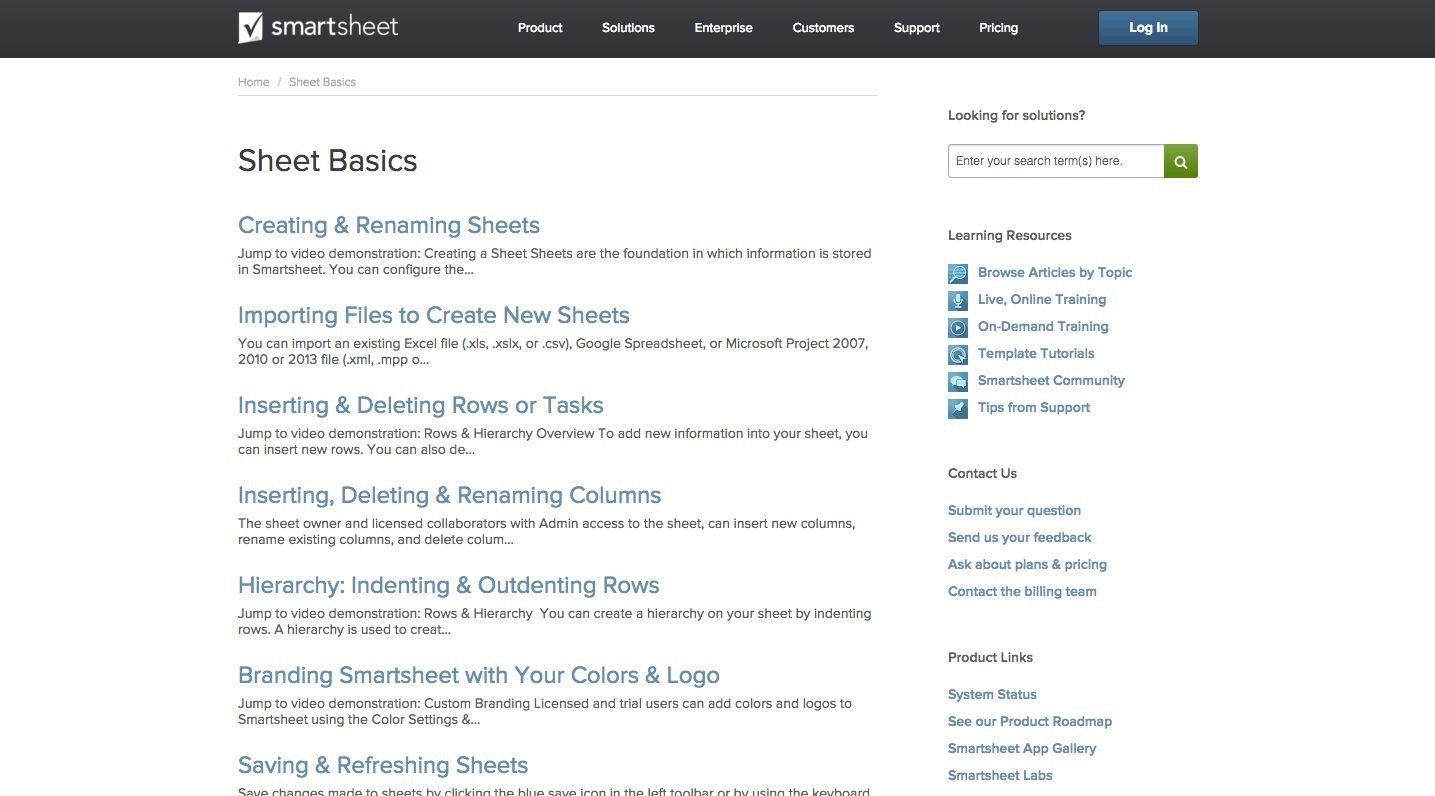 Smartsheet help documentation