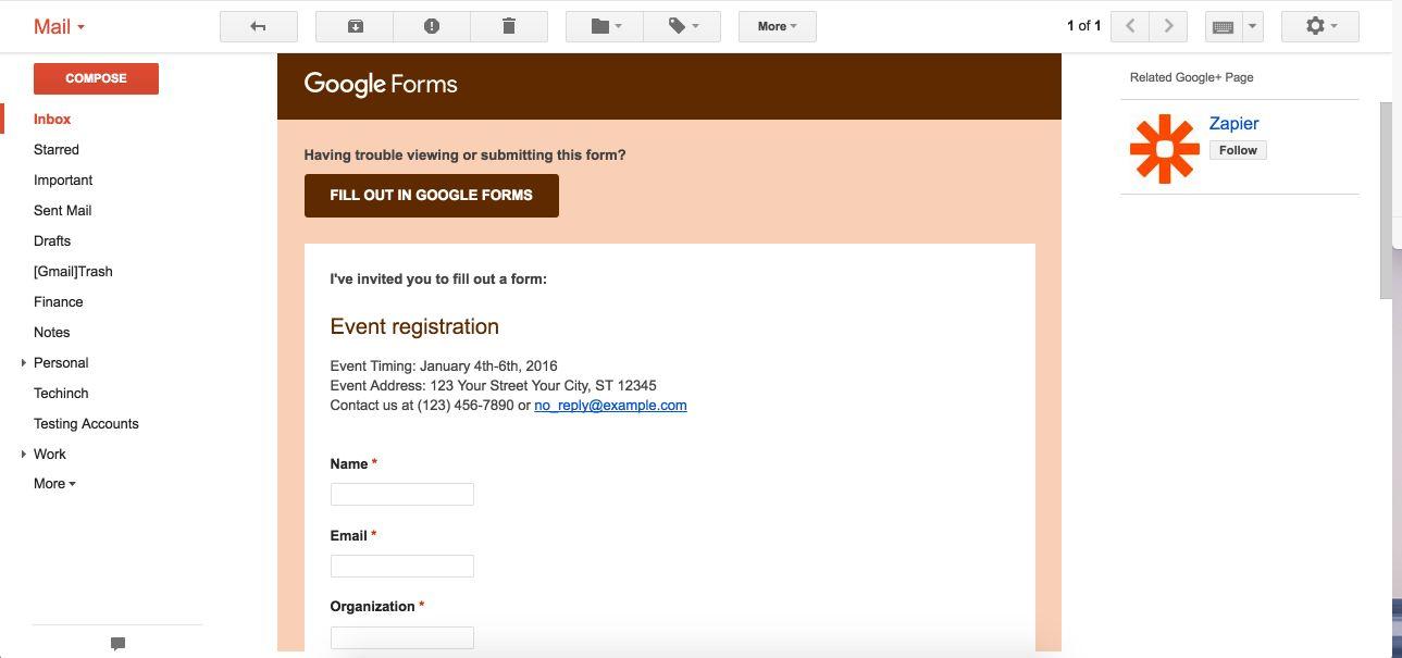 Google Forms form inside email