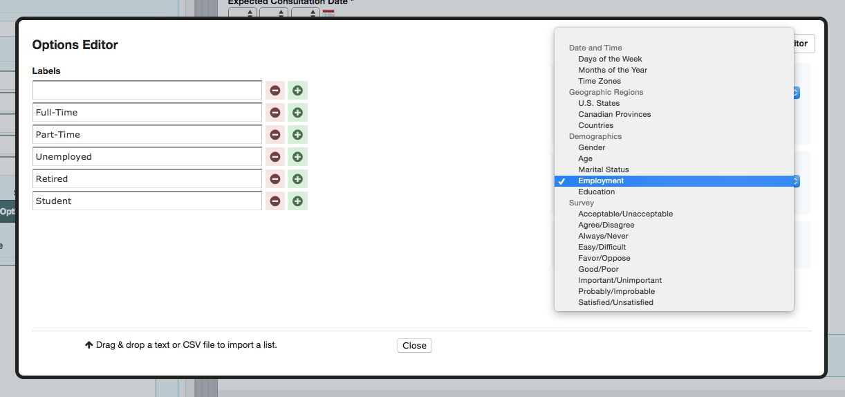 Formstack Predefined Choices employment example