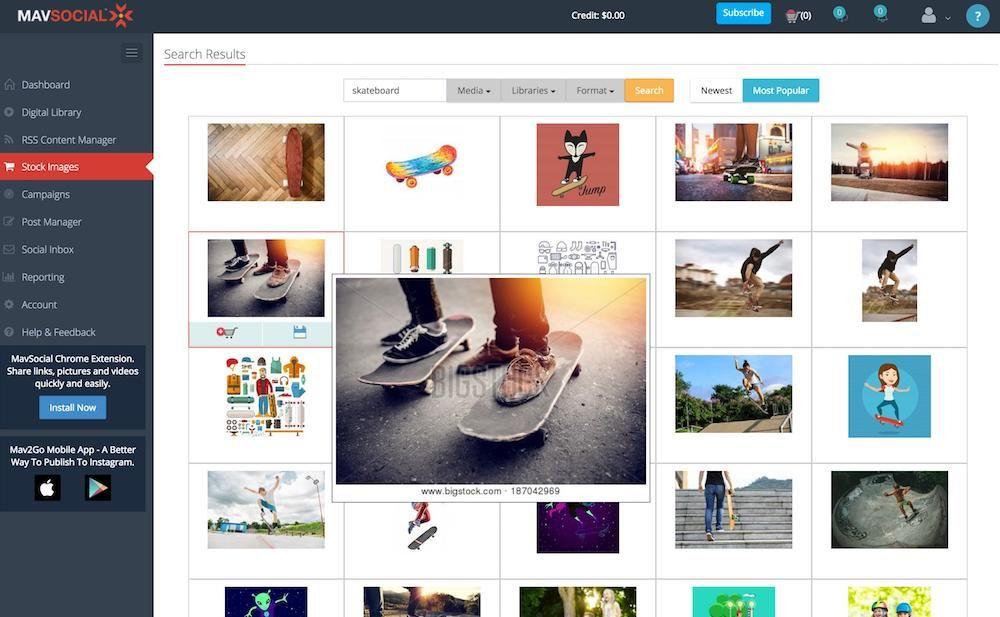 Finding stock photos in MavSocial