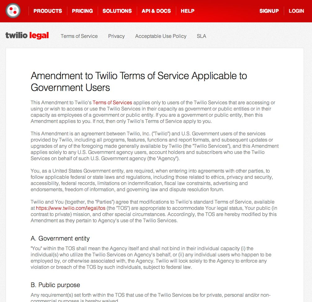 Amendment to Twilio Terms of Service Applicable to Government Users screenshot