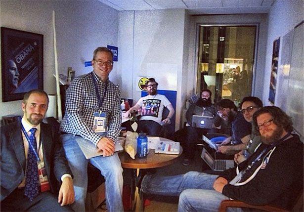 Obama tech team with Eric Schmidt