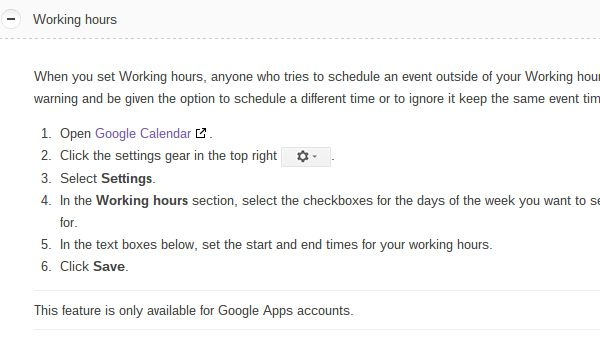 set google calendar working hours