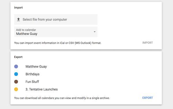 Export Google Calendar