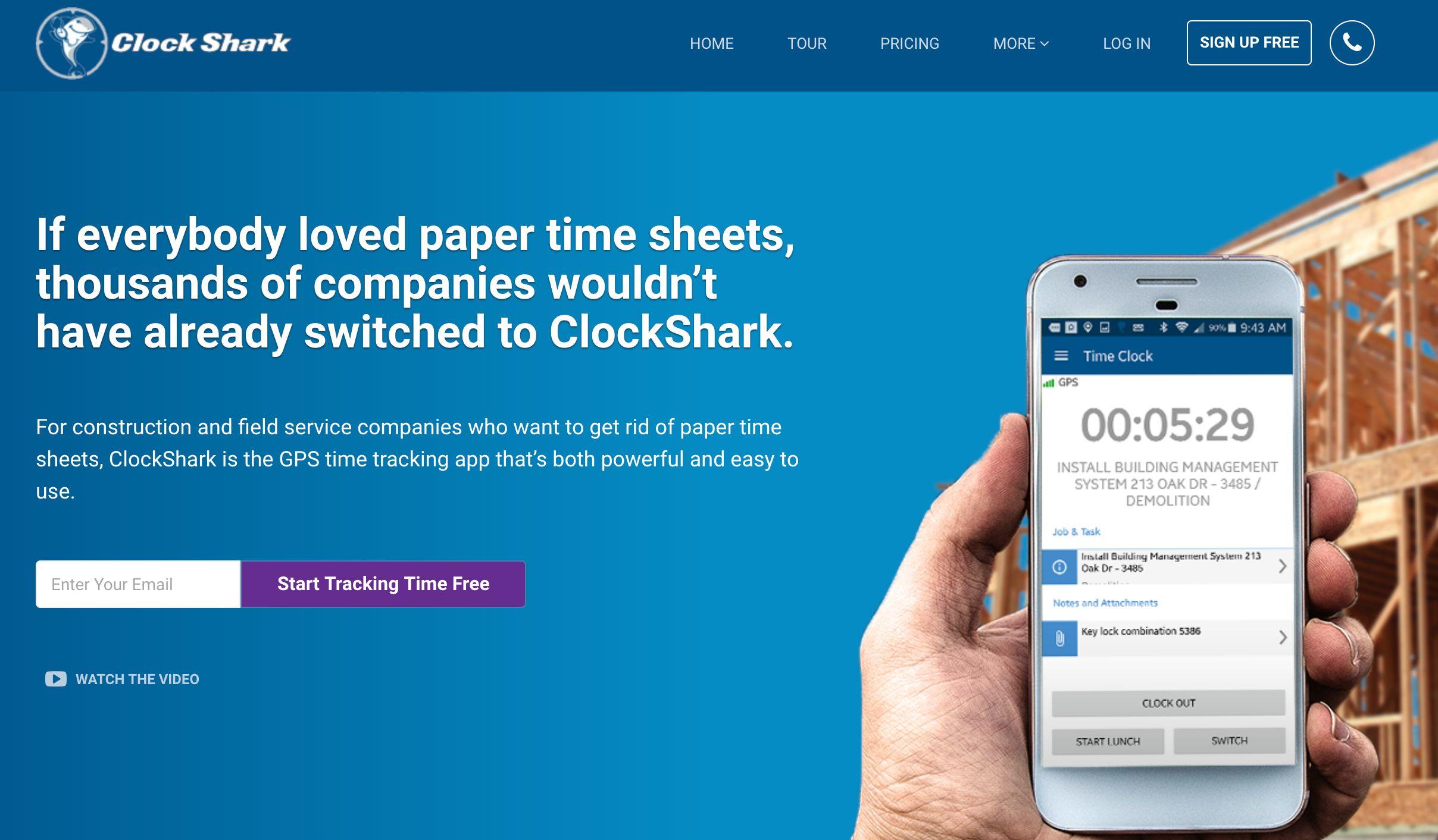 ClockShark home page