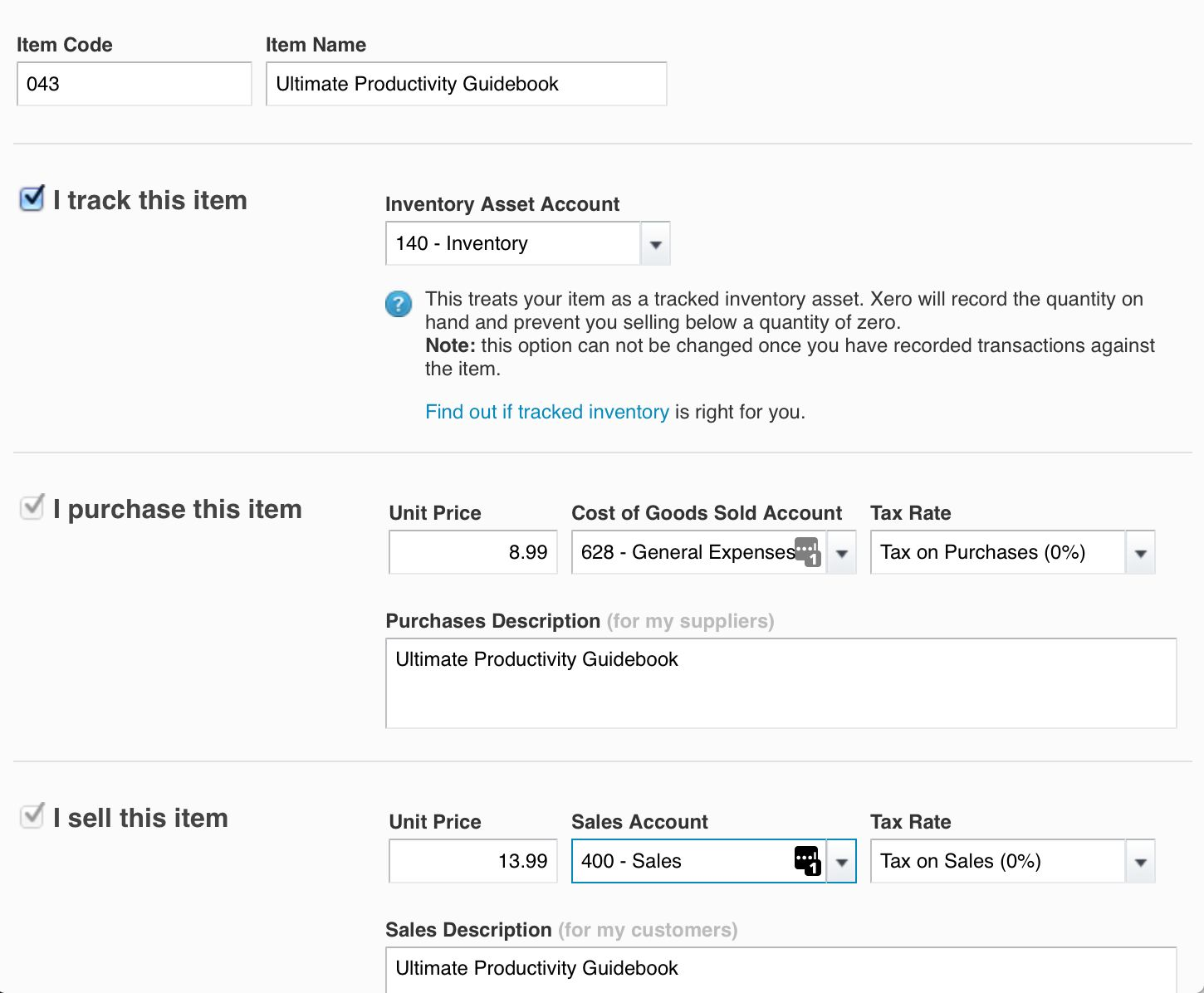Xero inventory management screenshot