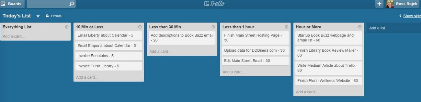 Trello task management template