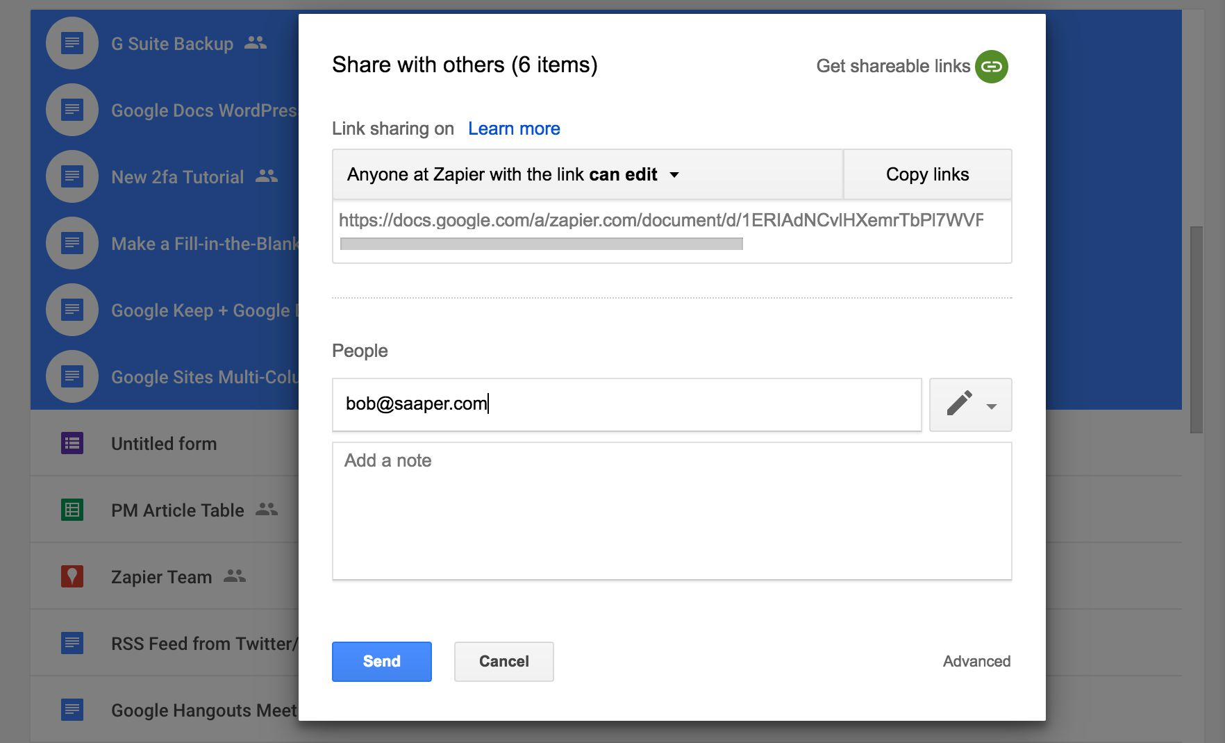 share google drive files in bulk