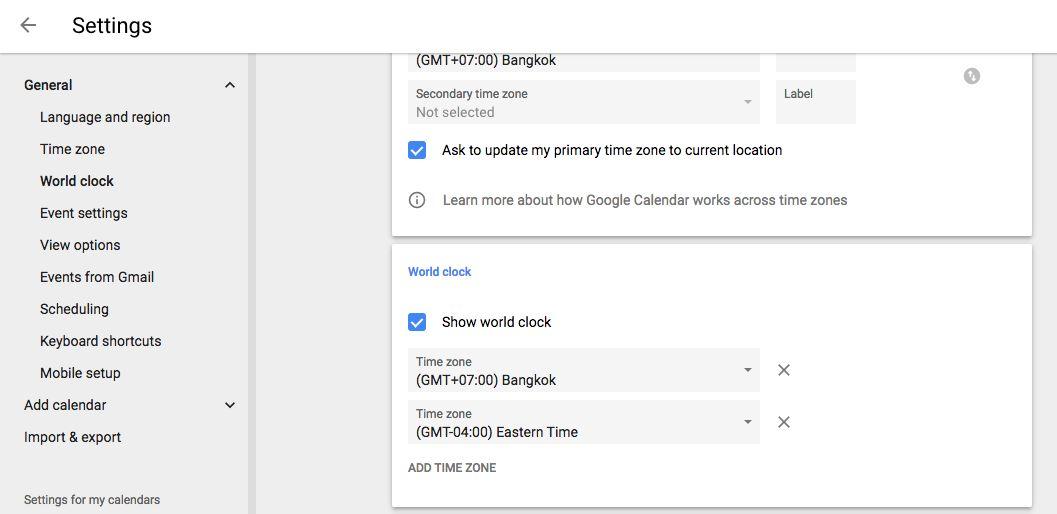 Google Calendar World Clock settings
