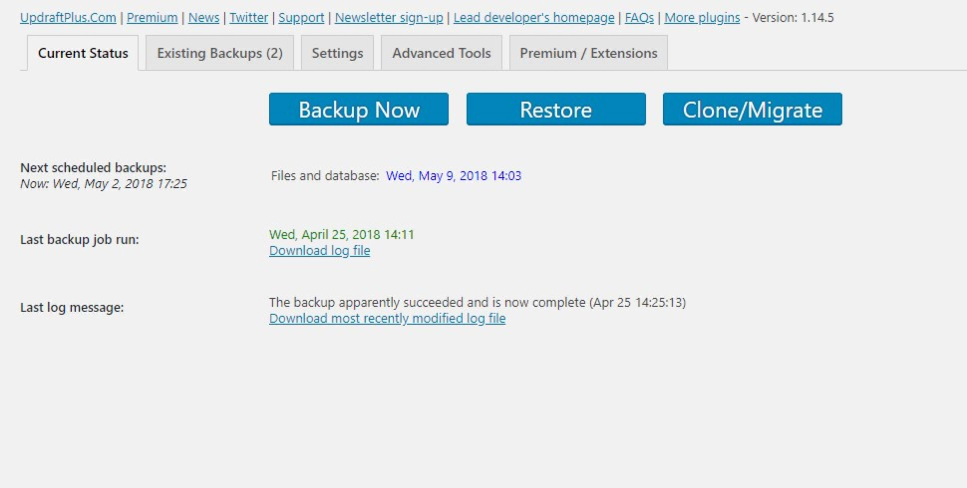 Backup now manually