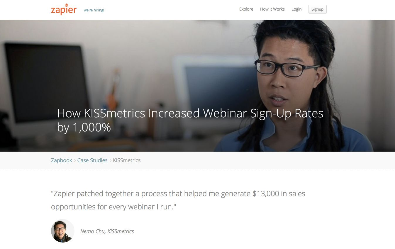 Kissmetrics Zapier case study