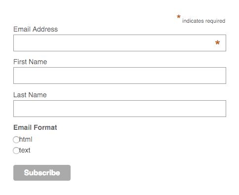 MailChimp embed example