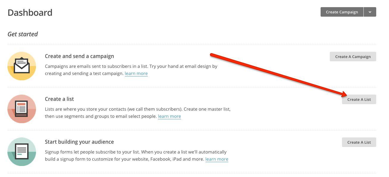 MailChimp create a list
