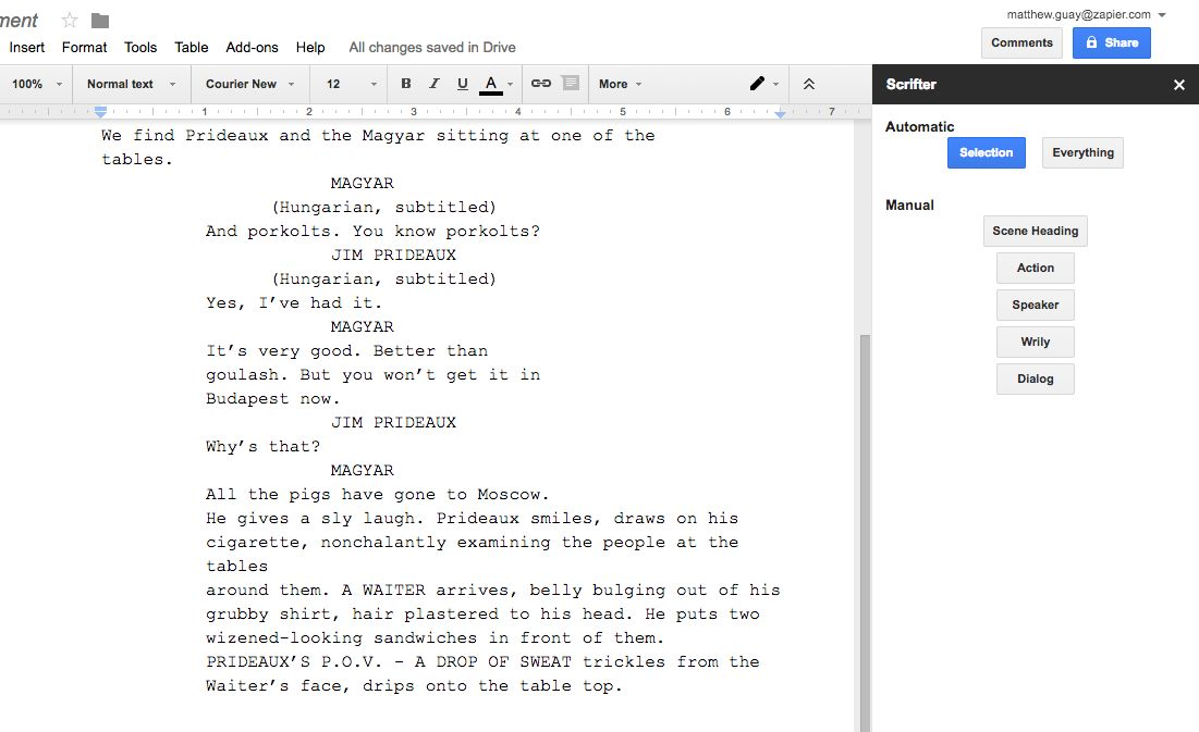 Scrifter Screenplay For Google Docs