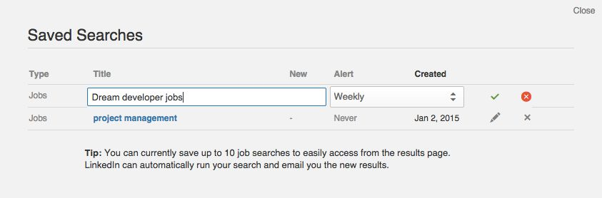 Save searches on LinkedIn