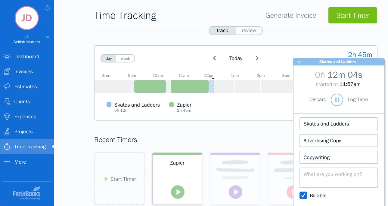 FreshBooks time tracking and accounting software