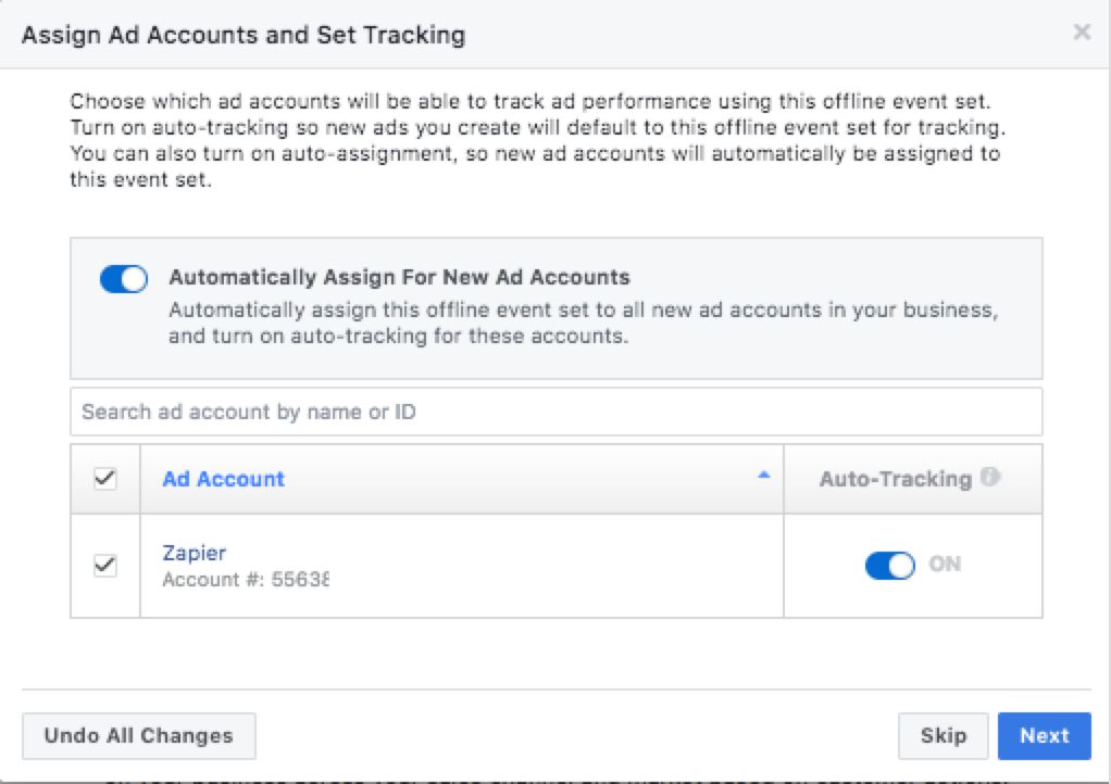 Select ad accounts to pair