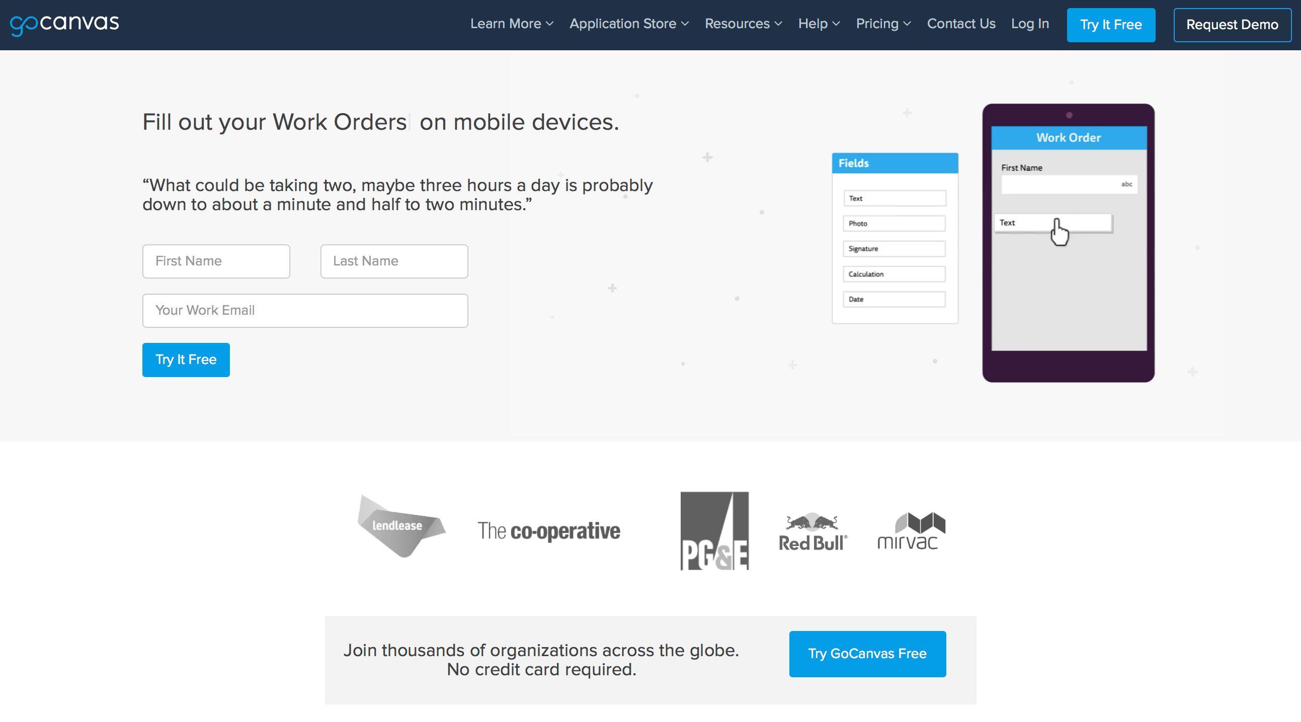 GoCanvas Screenshot