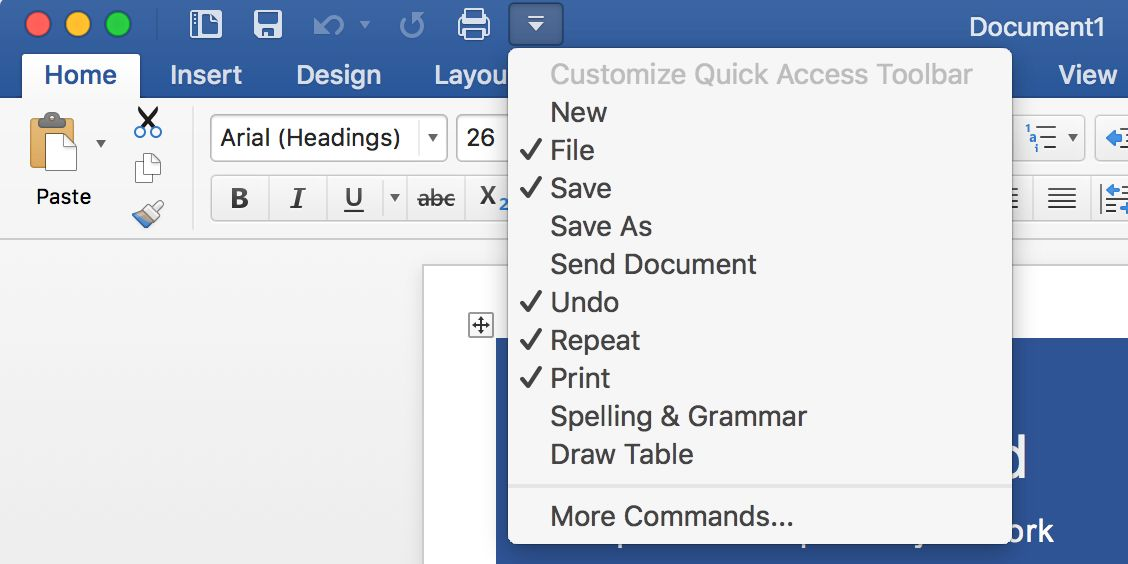 Select tools in Word