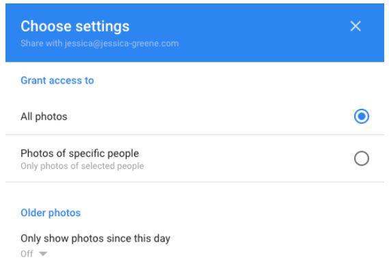 Google Photos settings